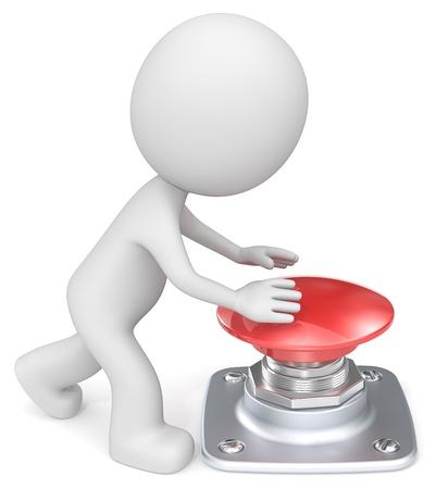 Foto de The Dude about to push large red button. - Imagen libre de derechos