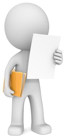 Photo pour The Dude reading document adn holding manila folder  - image libre de droit