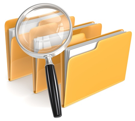 Photo pour Search Magnifying Glass over 3 folders - image libre de droit