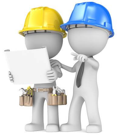 Foto de Building project planning  Dude the Builder with contractor looking at blueprint  - Imagen libre de derechos