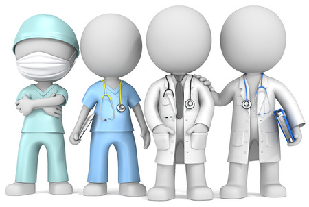 Photo for Doctors and Nurse  Dude the Doctors and Nurse x 4 standing in a row  - Royalty Free Image