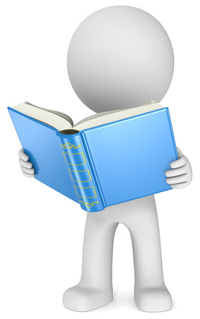 Photo for Study  The Dude standing reading a blue book  3D little human character  - Royalty Free Image