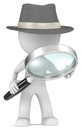 Photo pour Case  Dude the detective with magnifying glass  Film Noir style  - image libre de droit