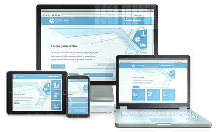 Photo pour Responsive Web Design  RWD concept with smartphone,laptop,screen and tablet computer  No branded  - image libre de droit