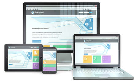 Foto de Responsive Web Design  RWD concept with smartphone,laptop,screen and tablet computer  No branded  - Imagen libre de derechos