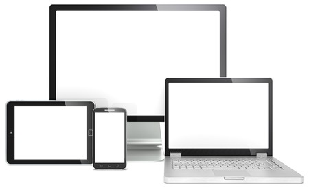 Foto de Responsive Web Design  Blank RWD concept  Smartphone,laptop,screen and tablet computer  No branded  - Imagen libre de derechos