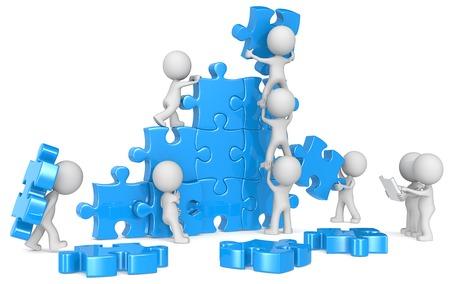 Photo pour The dude x 9 building large puzzle from blueprint. Blue. - image libre de droit