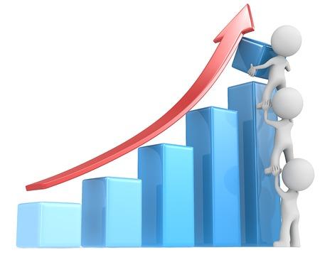 Foto de Growth. The dude x 3 helping increase blue bar diagram. Red arrow. - Imagen libre de derechos