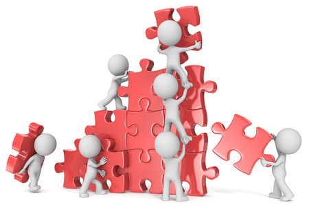 Photo pour Teamwork. The dude x 7 building large puzzle. Red. - image libre de droit
