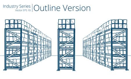 Illustration pour Warehouse Shelves. Vector illustration of Warehouse Shelves, Outline Series. - image libre de droit