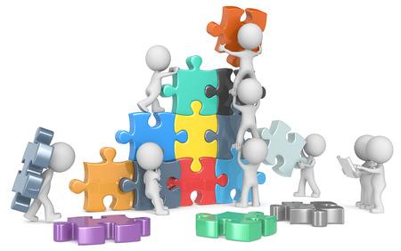 Photo pour The Team. The dude x 9 building colorful puzzle from blueprint. - image libre de droit