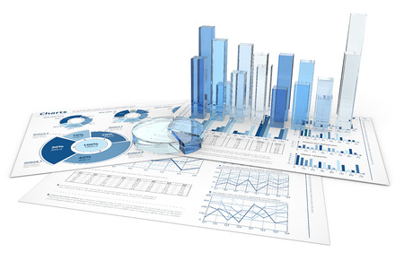 Photo pour Analyze. Blue infographics documents with 3D graphs and charts of glass. - image libre de droit