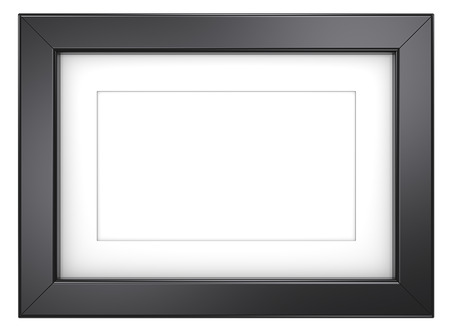 Photo pour Black picture frame. Picture frame with Passepartout. Black, isolated. - image libre de droit