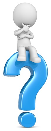 Foto de Question. The dude 3D character sitting on blue question mark. - Imagen libre de derechos