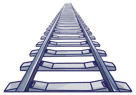 Ilustración de Endless train track. Perspective view of straight Train track. Blue colored and outlines. - Imagen libre de derechos