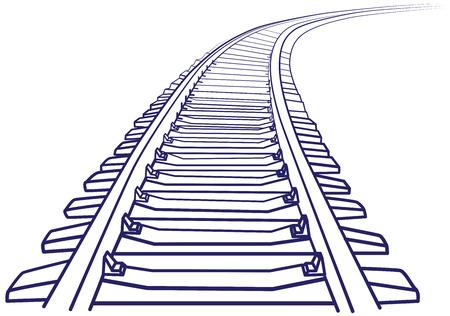 Ilustración de Curved endless Train track. Sketch of Curved Train track. Outlines. - Imagen libre de derechos