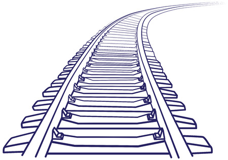 Illustration pour Curved endless Train track. Sketch of Curved Train track. Outlines. - image libre de droit
