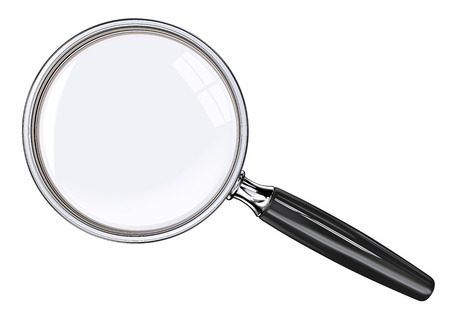 Illustration pour Magnifying glass. EPS 10. Photo realistic Vector magnifying glass. Black and metal. - image libre de droit