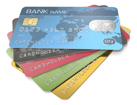 Photo pour Credit Cards. Pile of 5 Credit Cards. Blue, black red, green and gold. Sample Names, Numbers and Logos. - image libre de droit