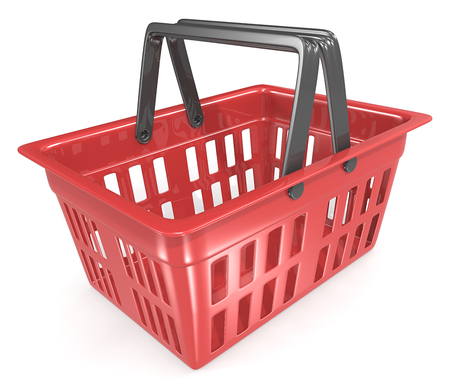 Photo for Shopping Basket. Empty Red Shopping Basket. - Royalty Free Image
