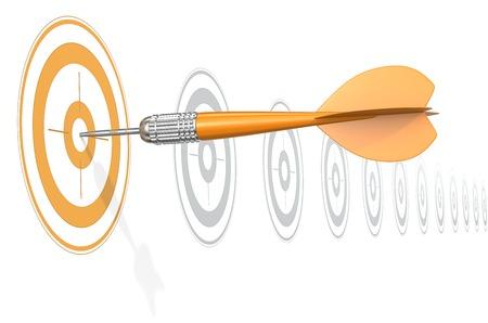 Foto de Target Marketing. Dart Arrow hitting center of Orange target. Horizontal row of gray targets. - Imagen libre de derechos