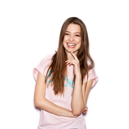 Photo for funny cute smiling woman. Beautiful laughing girl . White background, not isolated - Royalty Free Image