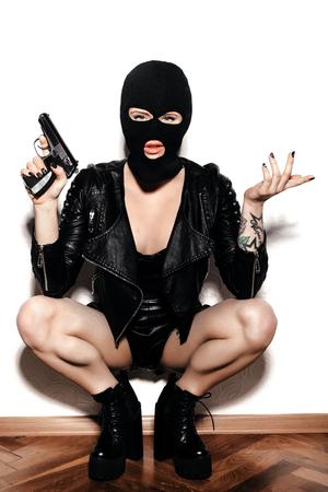 Foto de woman in balaclava - Imagen libre de derechos