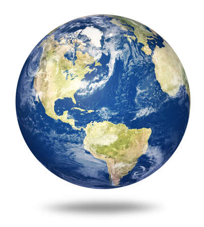 Planet earth on white background - America view