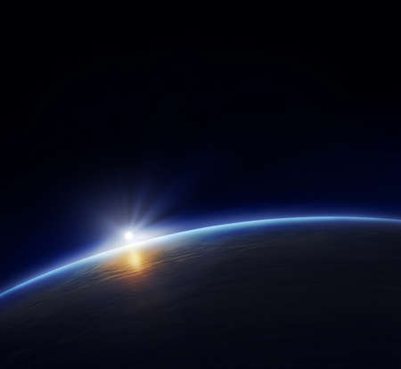 Planet Earth with rising sun in space