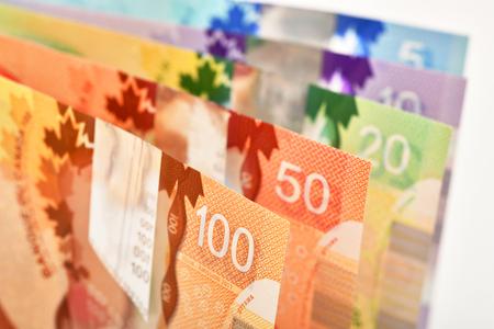 Foto de Background shot of Canadian banknotes, Canadian banknotes are the banknotes or bills of Canada - Imagen libre de derechos