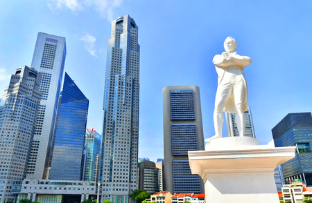 Photo for Singapore - OCTOBER 3,2018 : Statue of Sir Stamford Raffles near Singapore river - Royalty Free Image