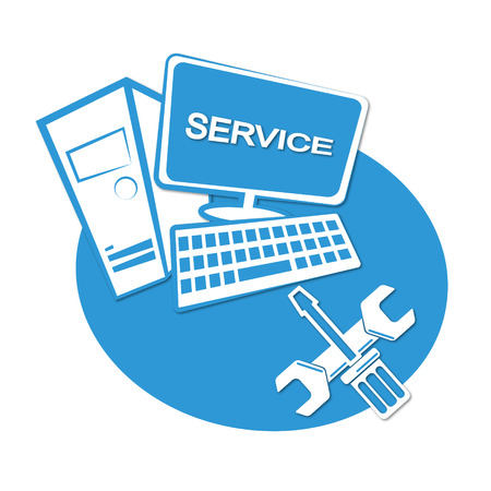 Illustration pour Computer repair business emblem for vector - image libre de droit