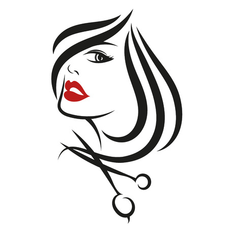 Illustration pour Female face for beauty salon, hair and scissors - image libre de droit