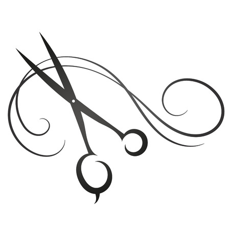 Illustration for Scissors and hair sign for beauty vector silhouette - Royalty Free Image