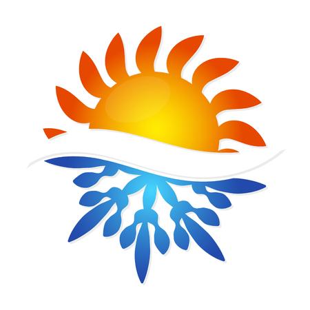 Illustration pour Sun and snowflake symbol air conditioning business - image libre de droit