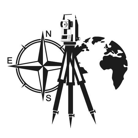Illustration pour A geodetic device, a wind rose and a globe symbol - image libre de droit