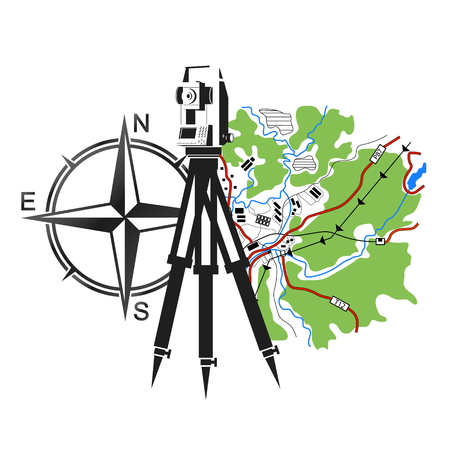 Illustration pour Symbol for geodesy and cartography. Geodesic device and map. - image libre de droit
