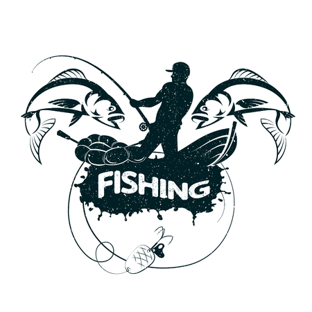 Illustration for Fisherman catches fish silhouette vector - Royalty Free Image