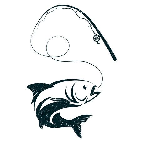 Fish on hook and fishing rod silhouette vector