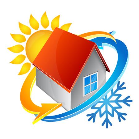 Illustration pour Temperature in the house symbol of air conditioning - image libre de droit