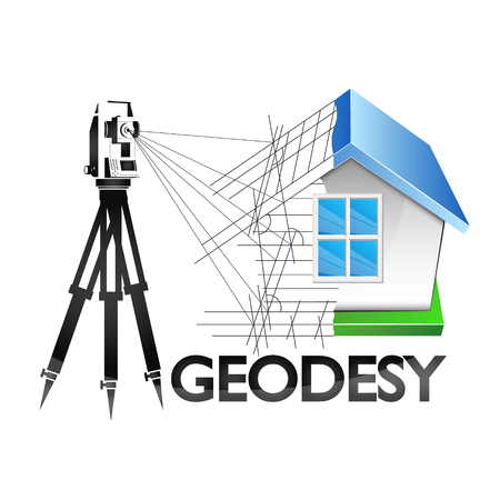 Illustration for Geodesy is a symbol for a business surveyor - Royalty Free Image