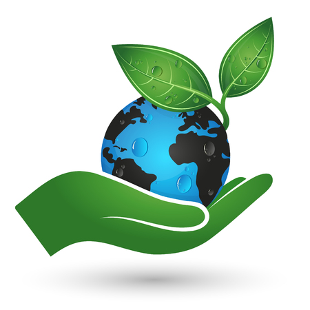 Illustration for Planet Earth and green leaf in hand symbol of ecology - Royalty Free Image