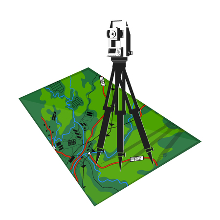 Illustration for Geodetic tool and map illustration, isolated on white - Royalty Free Image