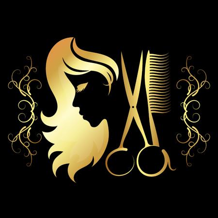 Ilustración de Girl for a beauty salon with scissors and gold coloring - Imagen libre de derechos