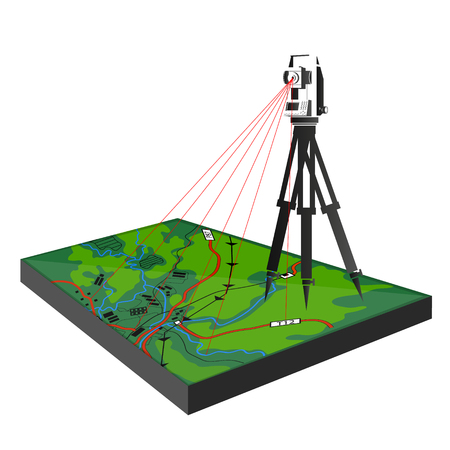 Illustration for Geodetic survey in the field illustration for business. - Royalty Free Image
