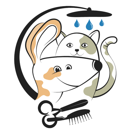 Illustrazione per Haircut and washing animals character design vector illustration. - Immagini Royalty Free
