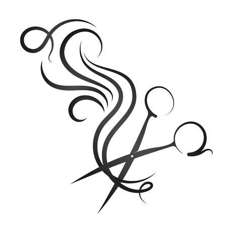 Illustration pour Scissors and curl hair symbol for beauty salon - image libre de droit