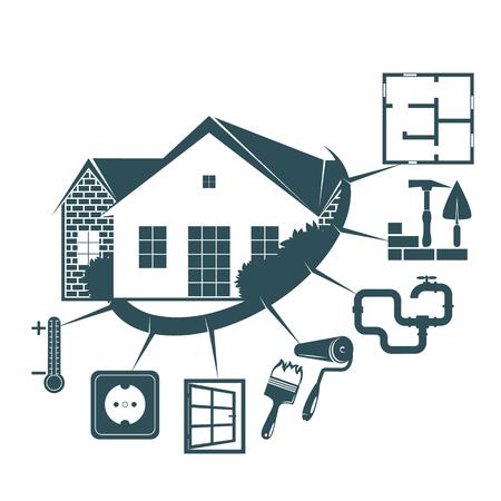 Illustration pour Repair and maintenance of the housing symbol for business Vector illustration. - image libre de droit