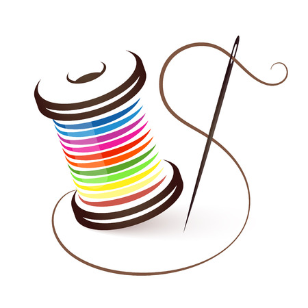 Illustration pour Needle and coil of colored threads - image libre de droit