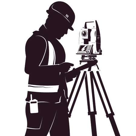 Illustration for Uniformed surveyor and total station silhouette for geoedesy - Royalty Free Image